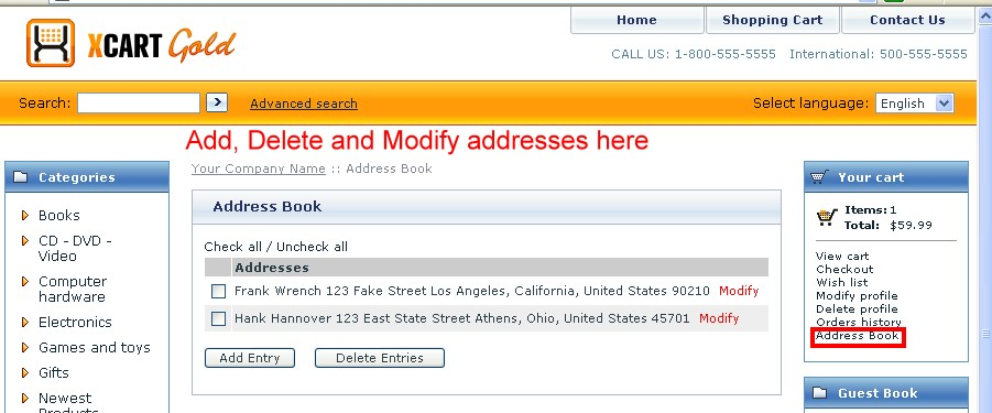 Add, Delete and Modify addresses